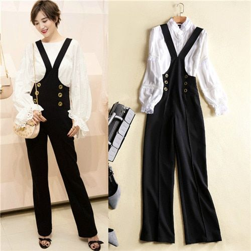 Free shipping 2017 braces trousers and long sleeve blouses black fashion bib pants and white tops sets trousers 2 piece sets