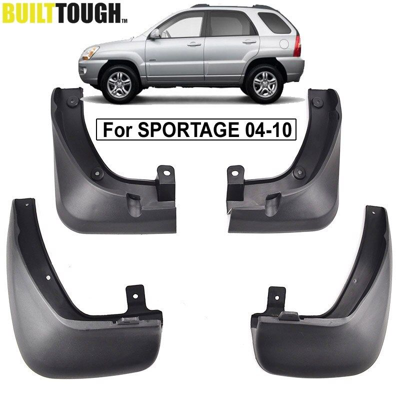 Set Molded Car Mud Flaps For Kia Sportage KM 2005-2010 Without Cladding Mudflaps Splash Guards Mud Flap Mudguards Fender Styling