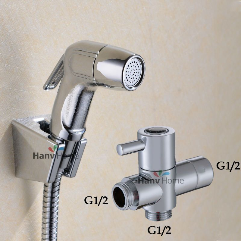 Toilet Bathroom ABS Handheld Diaper Sprayer Shower Set Shattaf Bidet Sprayer Douche kit+G1/2 T-adapter+ hose + wall bracket