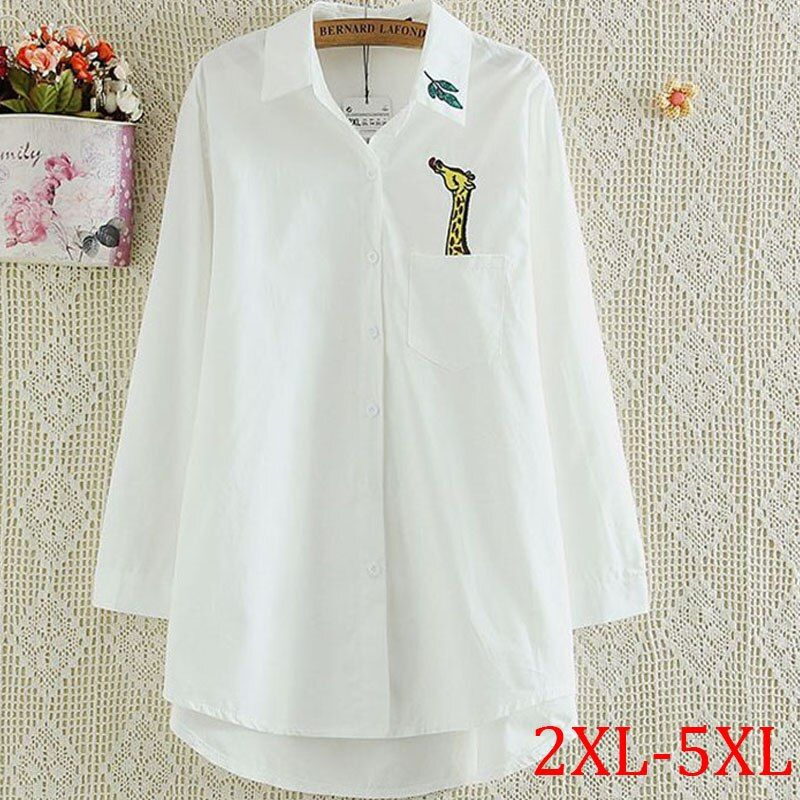 new autumn Women Blouse giraffe embroidery tops Long Sleeve Cotton Ladies White office Shirts Work Tops Shirt plus size 5XL