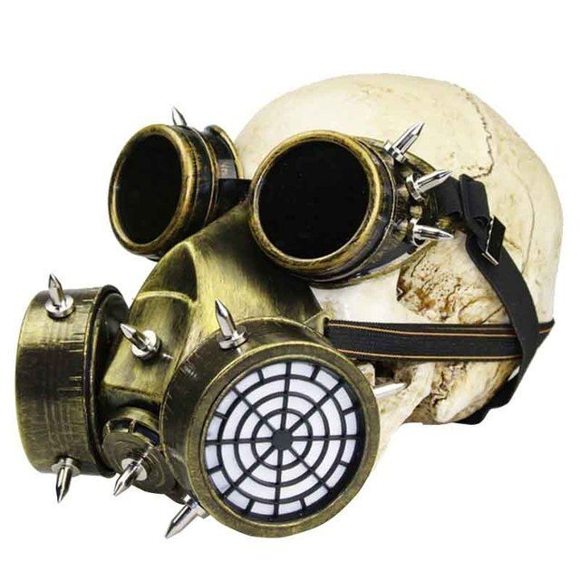 Women/Men Gold Gothic Vintage Goggles Military Anti-fog Haze Gas Mask Steampunk Party Masks Halloween Anime Cosplay Accessories