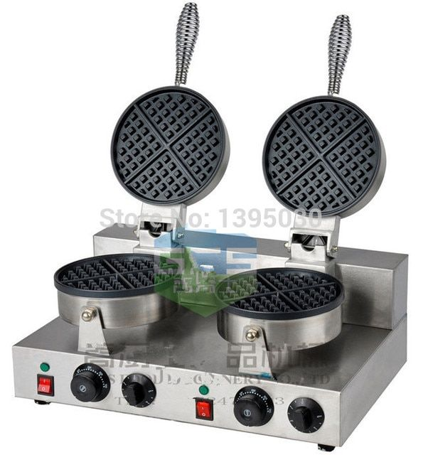 Electric Double Head Waffle Maker Mould Plaid Cake Furnace Heating Machine Square Waffle Oven FY-2 1PC