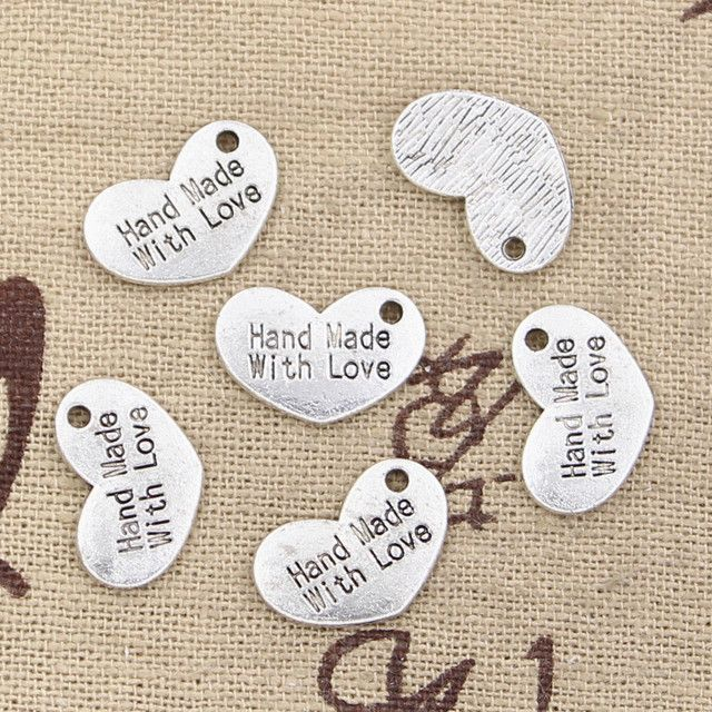 12pcs Charms heart hand made love 15x10mm Antique Making pendant fit,Vintage Tibetan Silver,DIY bracelet necklace