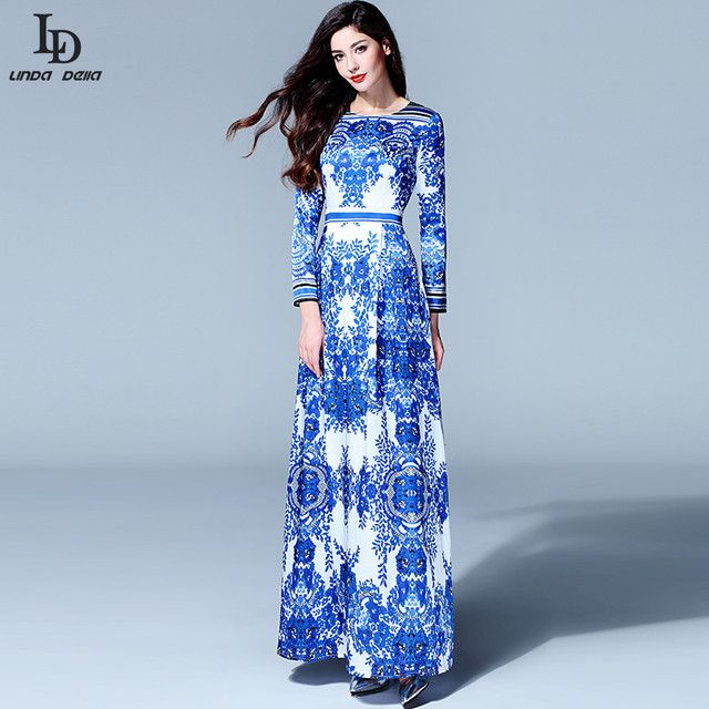LD LINDA DELLA 2015 Designer Runway Maxi Dress Spring Women Long sleeve Vintage Ethnic Blue and White Printed Long Dress