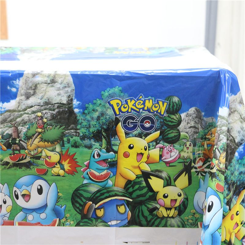 birthday party cartoon theme kids favors decoration tablecloth pikachu table cover baby shower pokemon go plastic maps supplies