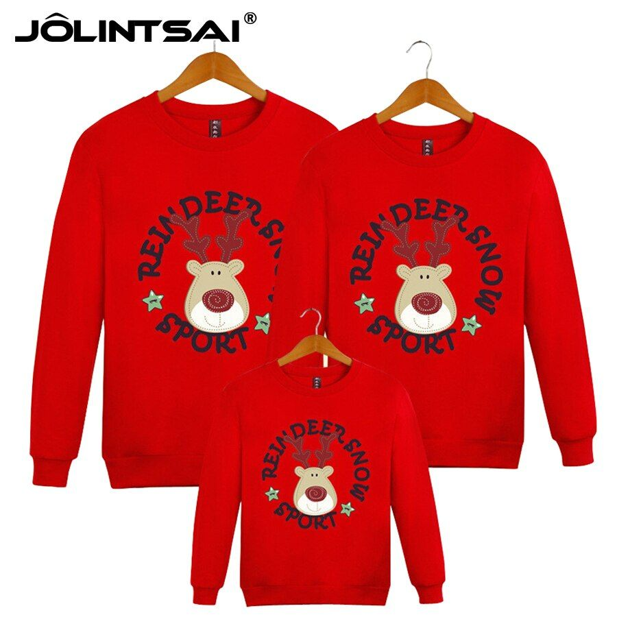 Autumn Winter Christmas Hoodies 2016 Family Look Matching Mother Daughter Son Father Clothes Cotton Family Clothing Outfits