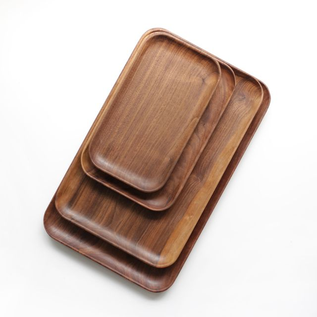 4pcs/lot Kitchen room supplies walnut solid wood plate wood tea tray snack cake dishes rectangular wood tray
