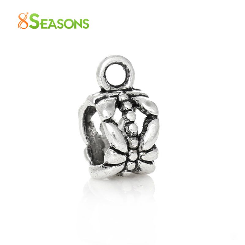 8SEASONS 50PCs antique silver-color Bail beads Spacer Beads 11x8mm Fit European Bracelet 6mm, B00004