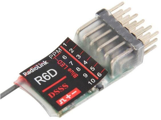 Radiolink 2.4G 6CH    R6D DSSS Receiver for AT9 AT10 Transmitter  receiver for RC Model Airplane