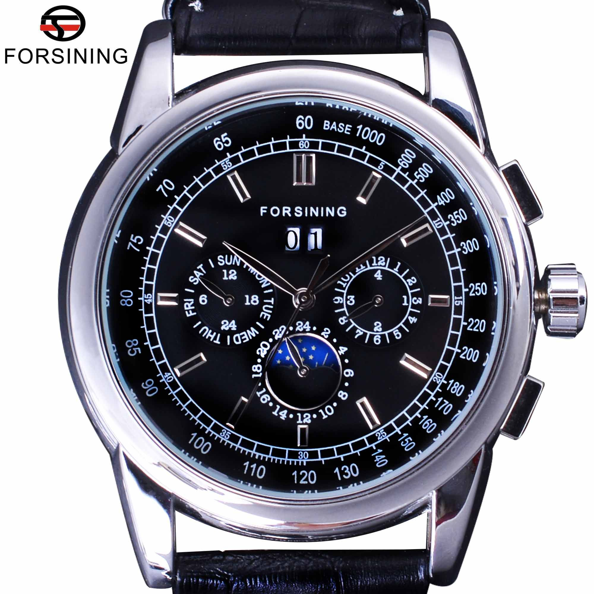Forsining Luxury Moon Phase Design ShangHai Movement Fashion Casual Wear Automatic Watch Scale Dial Mens Watch Top Brand Luxury