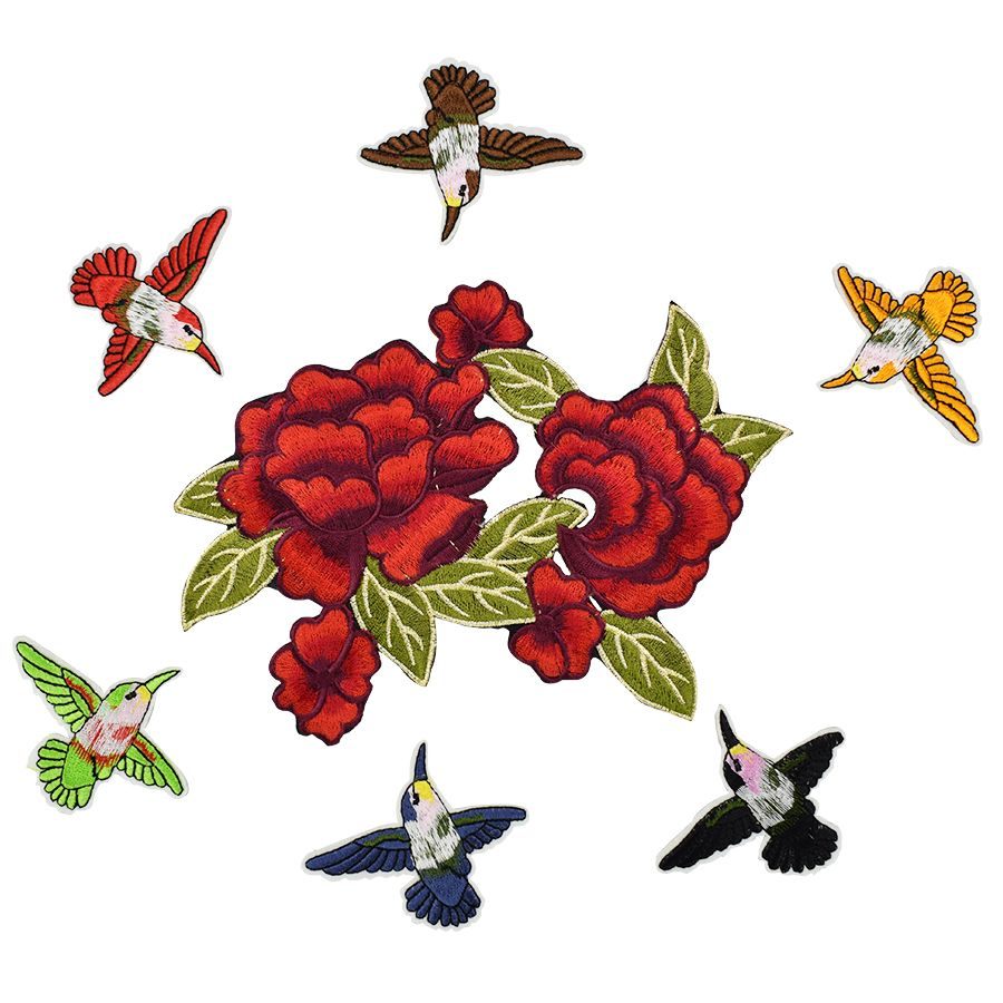 7pcs roses birds patches for clothing iron on patches for clothes badges clothes iron-on parches applique patches for DIY jeans