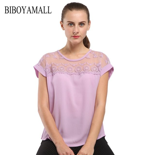 BIBOYAMALL Women Blouses Lace Chiffon Blouse Blusa Feminina Tops Short Sleeve Fashion Woman Shirts Plus Size 5XL Pink Blue