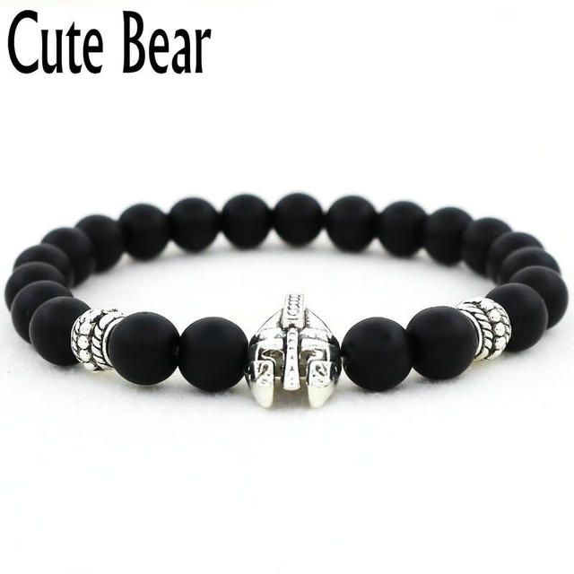 Cute Bear Brand Antique Gold Unisex Spartan Warrior Helmet Bracelet Men Charm Black Matte Stone Beaded Bracelets Men Pulseiras