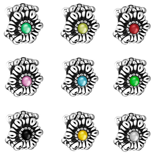 New Series Flowers Charms Color Crystal Silver Bead European Charm Beads For Making DIY Jewelry Bracelets Snake Chains Girl Gift