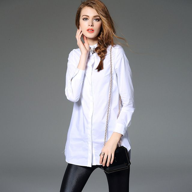 2017 New Spring Autumn Long Sleeve Blouse Shirt  Women Couture Nail Drill White Black Slim Cotton  Shirt  Tops Woman C561