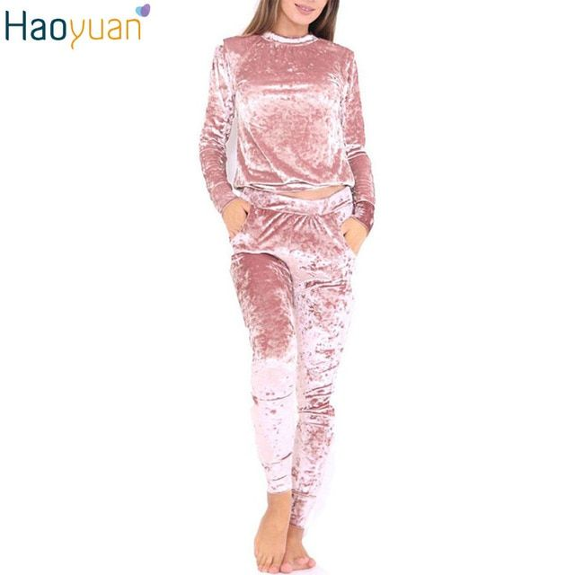 HAOYUAN Autumn Winter Casual Velvet Set Workout Outfits Women Tracksuit 2 Piece Set Top And Pants Set Sweatsuits Clothing Sets