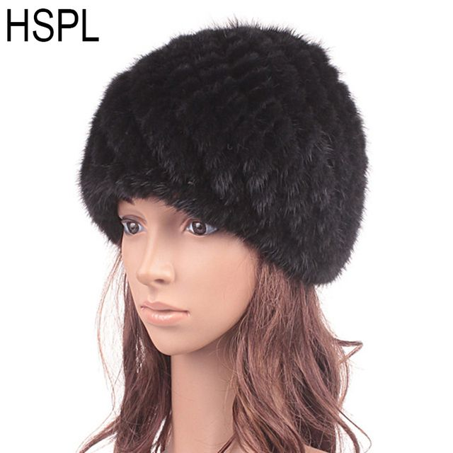 HSPL Fur Hat Guarantee 100% Natural  Mink Fur Cap Women Knitted Black Beanie Hats For Winter Bone Fashion Warm Pineapple Caps