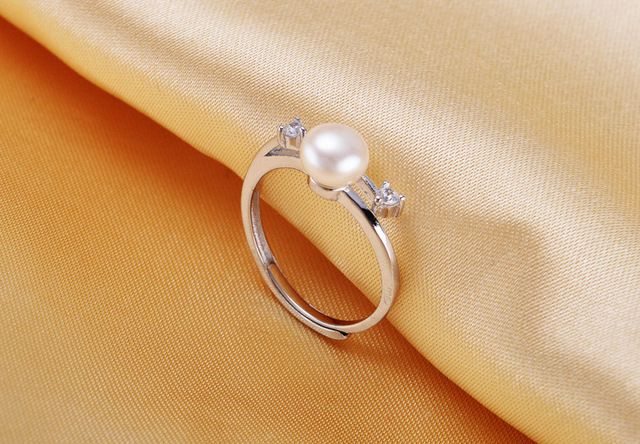 2016 Trendy Adjustable Size High Luster 7-8mm Freshwater Pearl Rings Fashion Pearl Jewelry For bijoux women Bague Pour Femme