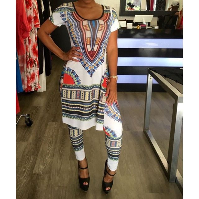 2017 Summer 2 Two Piece Set Women Ladies Sexy African Print Outfits Short Sleeve Casual Bodycon Dashiki Dress+Long Pants Suit
