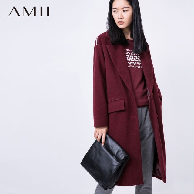 Amii Casual Women Woolen Coat 2018 Winter Solid Single Breasted Turn-down Collar Pocket Female Wool Blends