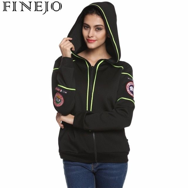 Finejo Cool Fashion Women Sweatshirt Spring Autumn Zip-up Hoodies Contrast Color Outerwear 2XL Plus Size Track Jacket