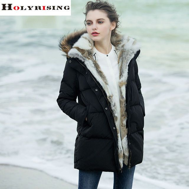 Fashion Brand Clothing Women Down Jackets Long Thicken Hooded Zipper Rabbit Fur Collar Parkas Warm Clothes White Black S-XXL