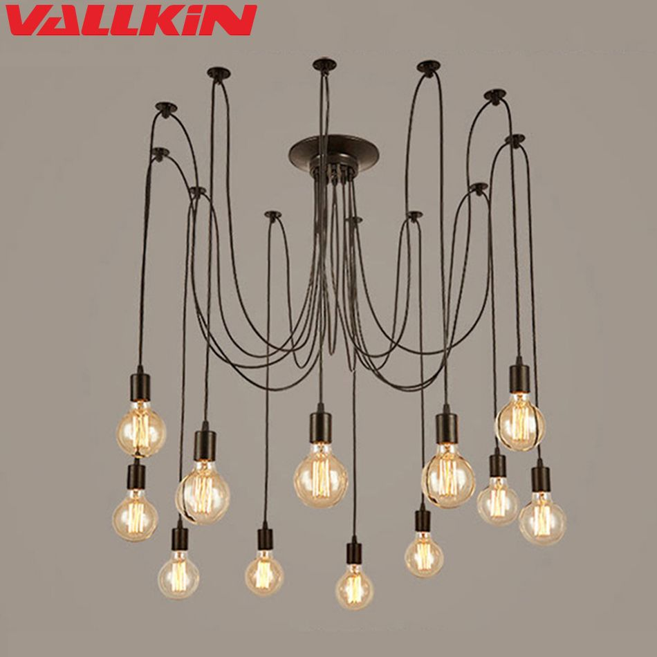 LOFT Modern Black Lustre chandeliers 6-14 Arms Retro Adjustable Edison Bulb Lamp E27 Art Spider Ceiling Lamps Luminaire Fixtures