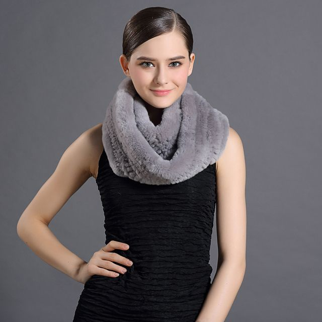 Winter Women Rabbit Fur Scarves Hot Warming Luxury Rex Rabbit Fur Natural Skin-Friendly Female Natural Fur Scarf