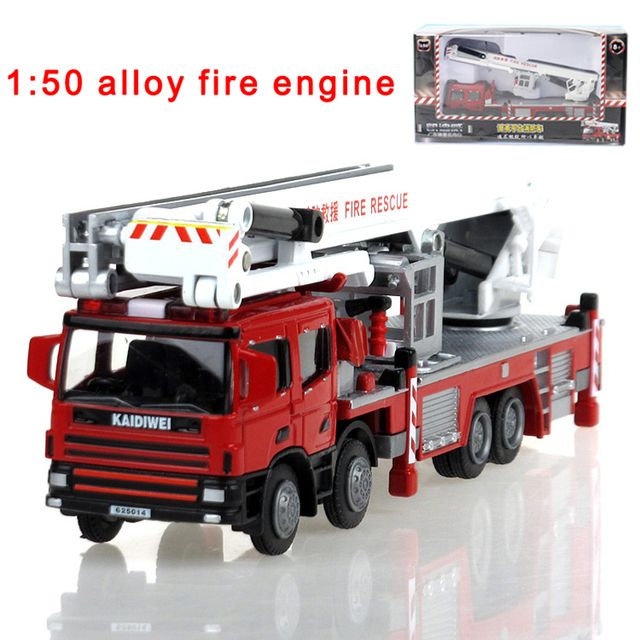 Alloy engineering lift up fire engine vehicle model 1:50 aerial fire truck ladder support original die cast model toy 625014
