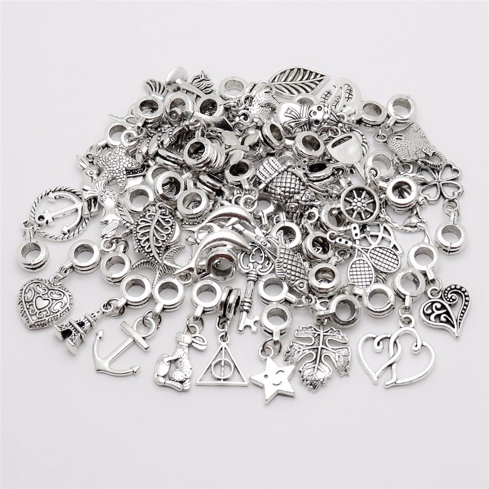 Mix 50pcs/lot Vintage Big Hole Loose Beads European Pendant fit Pandora charm bracelet DIY Metal jewelry making