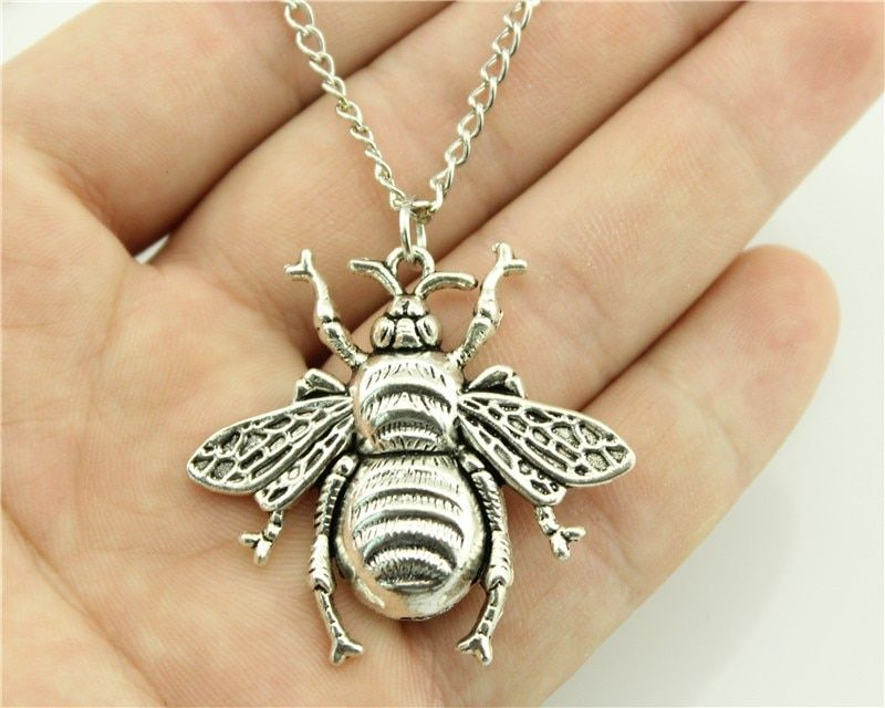 WYSIWYG 2 Colors Antique Bronze, Antique Silver Color 40x38mm Bee Pendant Necklace , 70Cm Chain Long Necklace Dropshipping