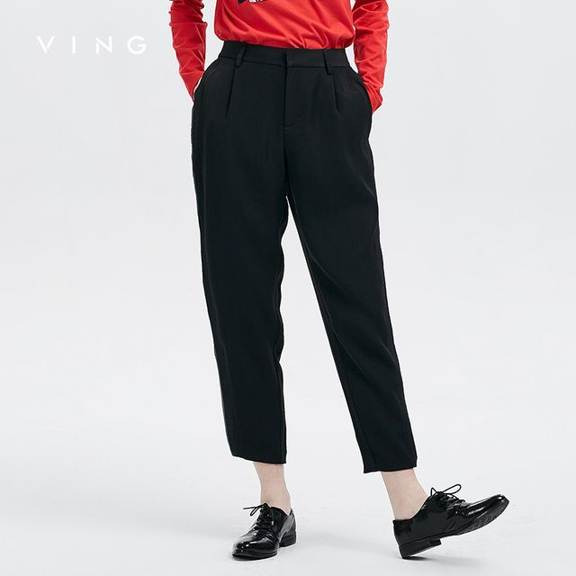 VING 2017 Autumn New Arrival Commuter Black Leather Straight Casual Pants OL Slim Pants