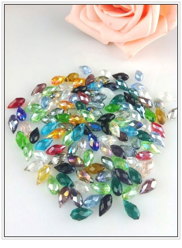 Wholesale 100Pcs 6*12mm Crystal Beads Mixed Colors Faceted Glass Teardrop Beads Charms For Jewelry Making Bracelet Diy Beads