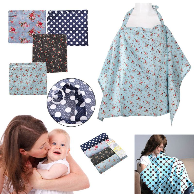 Baby Nursing Poncho Covers Cotton Mum Breastfeeding Blanket Shawl Black Cherry/Blue Cherry/Dark Blue Dots/ Blue Flower