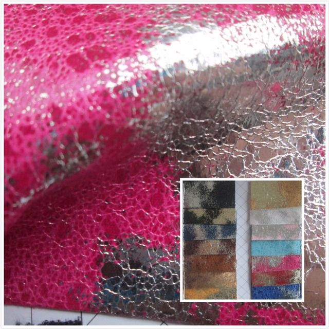 Color crack style Mirror glitter 0.7 mm PVC synthetic leather fabric 14 Smooth surface for decorative bag  couro cloth