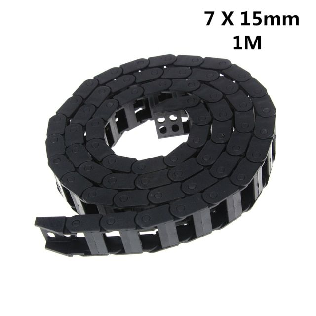 7 x 15mm 7*15mm L1000mm Cable Drag Chain Wire Carrier with End Connectors for CNC Router Machine Tools