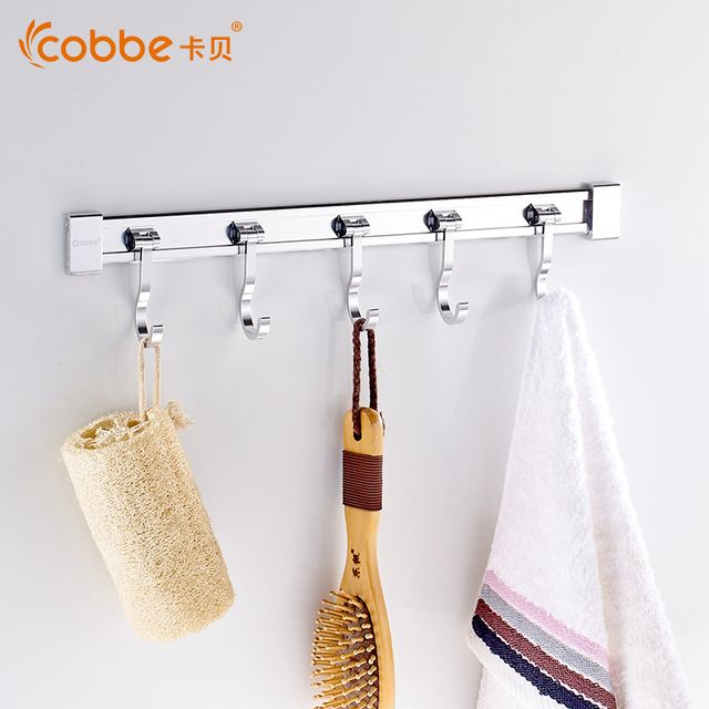 Mirror Modern Robe Hooks For Space Aluminum Kitchen & Bathroom Accessories Wall Mounted Hooks Housekeeper Big Coat Hanger Cobbe