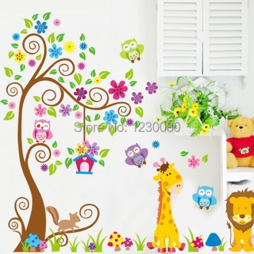 Forest Owls Giraffe Scroll Flower Tree Wall Sticker Vinyl Decal Kids Baby Room