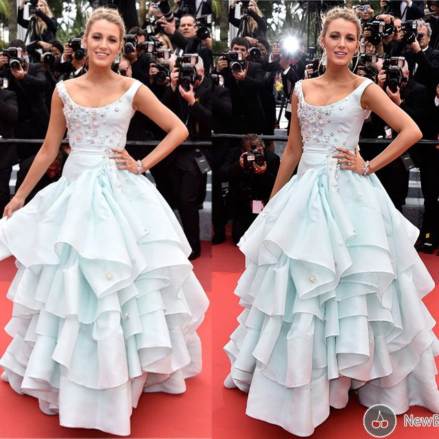 Blake Lively 2016 Cannes Festive Blue Flowers Ruffle Celebrity Dresses Scoop Neckline Floor Length Ball Gown Red Carpet Dress