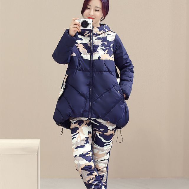 New 2016 Women Full Sleeve Hood Down Coat + Trouser Camouflage Two Pieces Slim Female Winter Suits Plus Size M~2XL free shipping