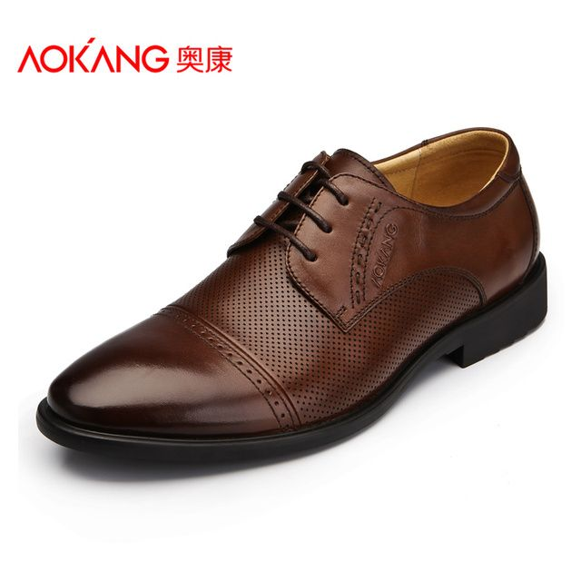 Aokang men's male pointed toe business casual shoes popular shoes lacing shoes low-top male