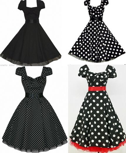 free pp 4 styles plus size dress BLACK POLKA DOT 50's PUFF SLEEVE ROCKABILLY PARTY VTG DRESS rockabilly kleid s-6xl