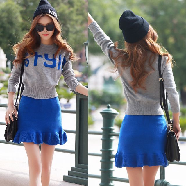 Hot New Women Knitted Petal Skirt Top Suits Long Sleeve Letter Sweater Skirt Sets Fashion 2pcs Cotton Suit Gray/Blue Color