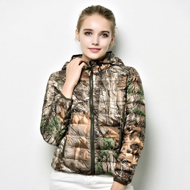 Ultralight women's winter jacket camouflage hooded down coat SBK156