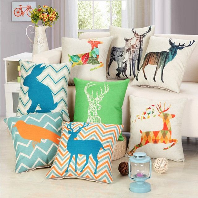 Nordic Deer Pillow Home Decor Cushion Chevron Rabbit  Bird Linen Cotton Sofa Car Seat Decorative Throw Pillow  Capa Almofada