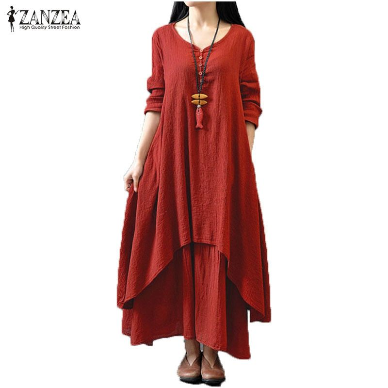 Casual Solid Autumn Dress 2019 Women Elegant Loose Full Sleeve V Neck Dress  Long Maxi Dress Vestidos Plus Size Oversized