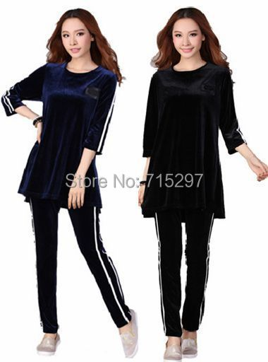 fashion women gold velvet big size clothes set plus size long sleeves spring autumn sportwear set loose slim comfortable XXXL