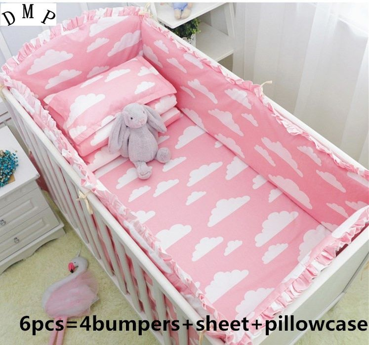 Promotion! 6PCS crib bedding sets for kids,baby cribs for bedding sets,baby care ,include(bumpers+sheet+pillow cover)