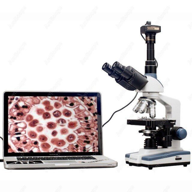 Lab Compound Microscope--AmScope Supplies 2000X LED Lab Trinocular Compound Microscope w 3D Mechanical Stage + USB2 Camera
