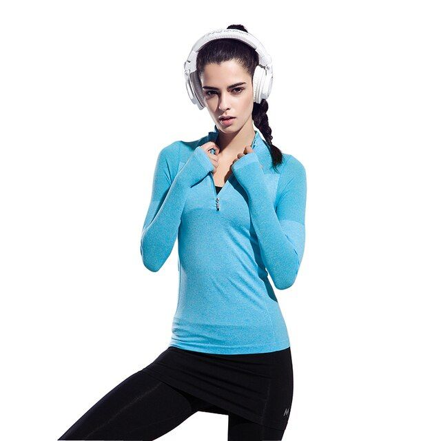 Women's Shirts Half Zipper Jackets Workout Exercise Shirts Tops Fitness Clothes